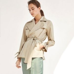 NWT Massimo Dutti Short Trench Coat with Belt